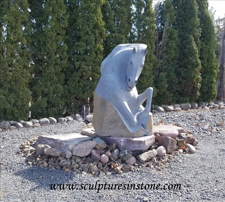 Stone Scultpture Grey Horse