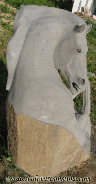 Stone Sculpture of a grey horse